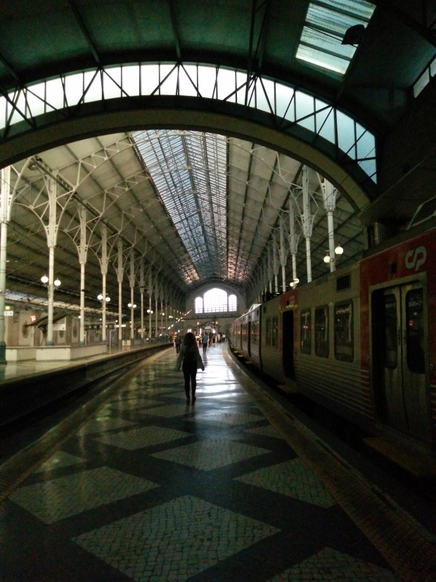A train station in downtown Lisbon.